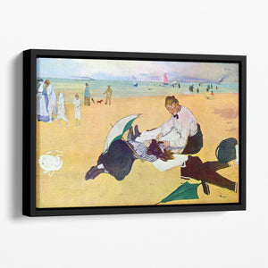 Small girls on the beach by Degas Floating Framed Canvas