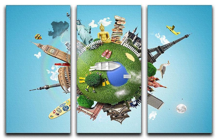 Small planet with landmarks around the world 3 Split Panel Canvas Print
