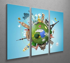 Small planet with landmarks around the world 3 Split Panel Canvas Print - Canvas Art Rocks - 2