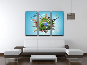Small planet with landmarks around the world 3 Split Panel Canvas Print - Canvas Art Rocks - 3