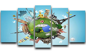 Small planet with landmarks around the world 5 Split Panel Canvas  - Canvas Art Rocks - 1