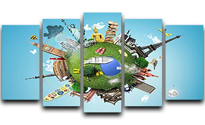 Small planet with landmarks around the world 5 Split Panel Canvas