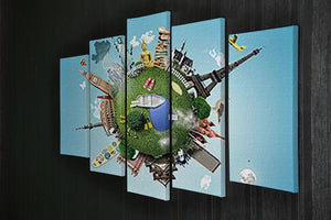 Small planet with landmarks around the world 5 Split Panel Canvas - Canvas Art Rocks - 2