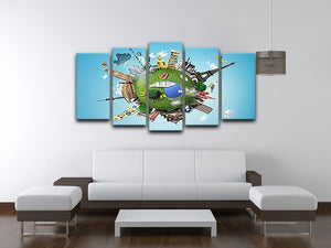 Small planet with landmarks around the world 5 Split Panel Canvas - Canvas Art Rocks - 3