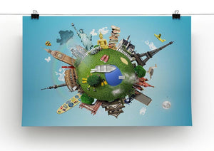 Small planet with landmarks around the world Canvas Print or Poster - Canvas Art Rocks - 2