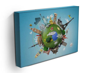 Small planet with landmarks around the world Canvas Print or Poster - Canvas Art Rocks - 3