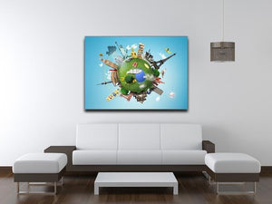 Small planet with landmarks around the world Canvas Print or Poster - Canvas Art Rocks - 4