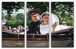 Smiling newlyweds Meghan and Prince Harry wave 3 Split Panel Canvas Print - Canvas Art Rocks - 1
