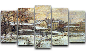 Snow at sunset Argenteuil in the snow by Monet 5 Split Panel Canvas  - Canvas Art Rocks - 1