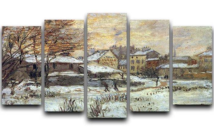 Snow at sunset Argenteuil in the snow by Monet 5 Split Panel Canvas