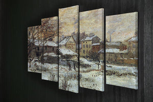 Snow at sunset Argenteuil in the snow by Monet 5 Split Panel Canvas - Canvas Art Rocks - 2