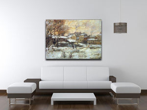 Snow at sunset Argenteuil in the snow by Monet Canvas Print & Poster - Canvas Art Rocks - 4