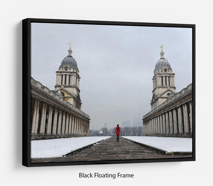Snow in Greenwich Floating Frame Canvas