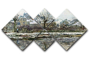 Snow in Vetheuil by Monet 4 Square Multi Panel Canvas  - Canvas Art Rocks - 1
