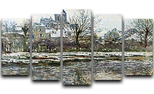 Snow in Vetheuil by Monet 5 Split Panel Canvas  - Canvas Art Rocks - 1