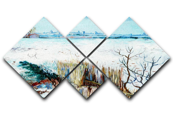 Snowy Landscape with Arles in the Background by Van Gogh 4 Square Multi Panel Canvas