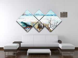 Snowy Landscape with Arles in the Background by Van Gogh 4 Square Multi Panel Canvas - Canvas Art Rocks - 3