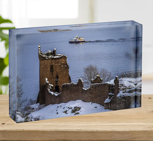 Snowy Urquhart Castle Acrylic Block - Canvas Art Rocks - 2
