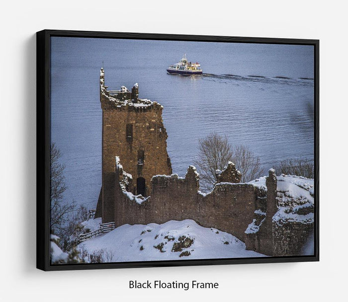 Snowy Urquhart Castle Floating Frame Canvas