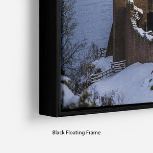 Snowy Urquhart Castle Floating Frame Canvas - Canvas Art Rocks - 2
