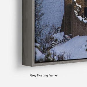 Snowy Urquhart Castle Floating Frame Canvas - Canvas Art Rocks - 4