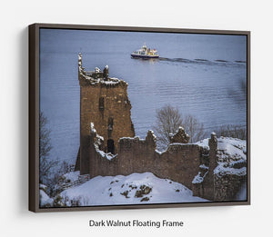 Snowy Urquhart Castle Floating Frame Canvas - Canvas Art Rocks - 5