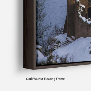 Snowy Urquhart Castle Floating Frame Canvas - Canvas Art Rocks - 6