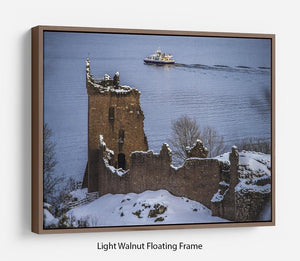 Snowy Urquhart Castle Floating Frame Canvas - Canvas Art Rocks 7