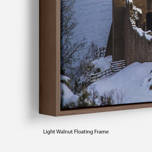 Snowy Urquhart Castle Floating Frame Canvas - Canvas Art Rocks - 8