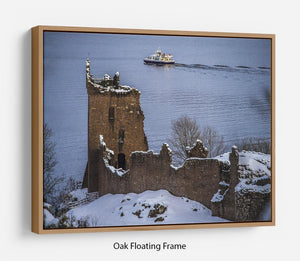 Snowy Urquhart Castle Floating Frame Canvas - Canvas Art Rocks - 9