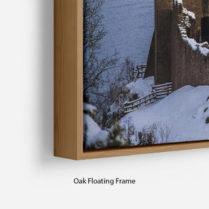 Snowy Urquhart Castle Floating Frame Canvas - Canvas Art Rocks - 10