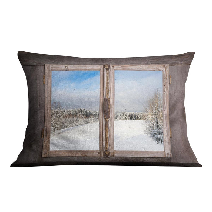 Snowy winter landscape in january Cushion