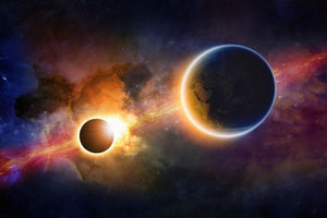 Solar Eclipse Nebula and Stars Wall Mural Wallpaper - Canvas Art Rocks - 1