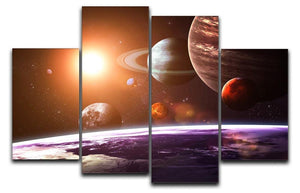 Solar system and space objects 4 Split Panel Canvas  - Canvas Art Rocks - 1