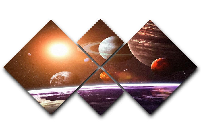Solar system and space objects 4 Square Multi Panel Canvas