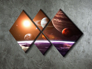 Solar system and space objects 4 Square Multi Panel Canvas - Canvas Art Rocks - 2