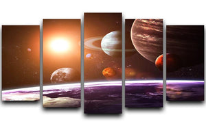 Solar system and space objects 5 Split Panel Canvas  - Canvas Art Rocks - 1