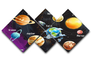 Solar system of planets 4 Square Multi Panel Canvas  - Canvas Art Rocks - 1