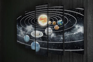 Solar system with eight planets 5 Split Panel Canvas - Canvas Art Rocks - 2