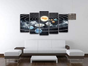 Solar system with eight planets 5 Split Panel Canvas - Canvas Art Rocks - 3