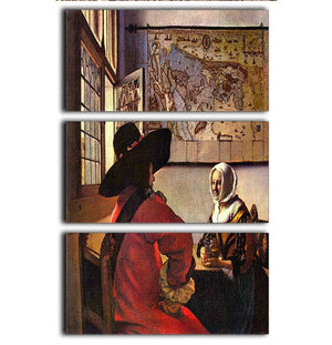 Soldier and girl smiling by Vermeer 3 Split Panel Canvas Print - Canvas Art Rocks - 1
