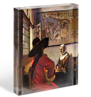 Soldier and girl smiling by Vermeer Acrylic Block - Canvas Art Rocks - 1
