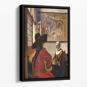Soldier and girl smiling by Vermeer Floating Framed Canvas