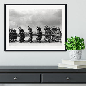 Soldiers marching in formation Framed Print - Canvas Art Rocks - 1