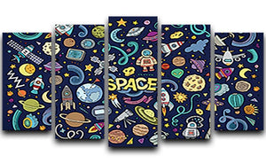 Space Doodles 5 Split Panel Canvas  - Canvas Art Rocks - 1