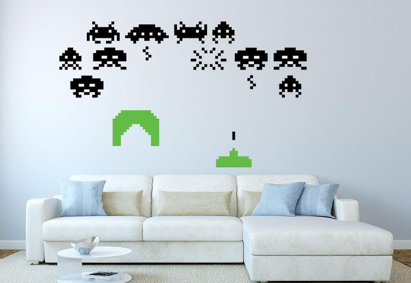 Space Invaders Wall Decal Set - Canvas Art Rocks