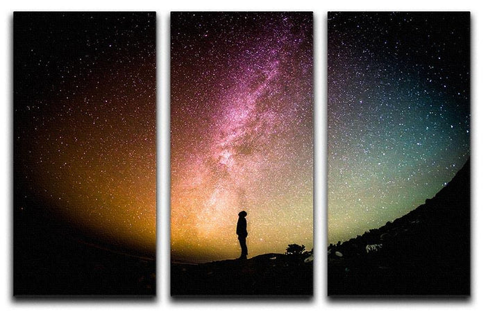 Space Man At Night 3 Split Panel Canvas Print