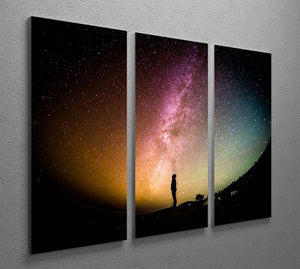 Space Man At Night 3 Split Panel Canvas Print - Canvas Art Rocks - 2