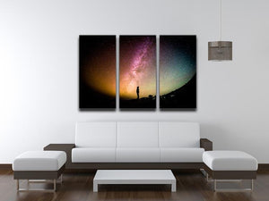 Space Man At Night 3 Split Panel Canvas Print - Canvas Art Rocks - 3