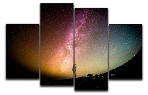 Space Man At Night 4 Split Panel Canvas - Canvas Art Rocks - 1